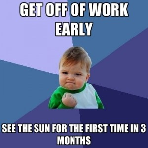 a funny image about getting off work earlier