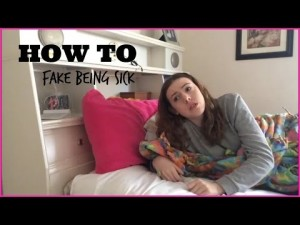 a girl faking being sick